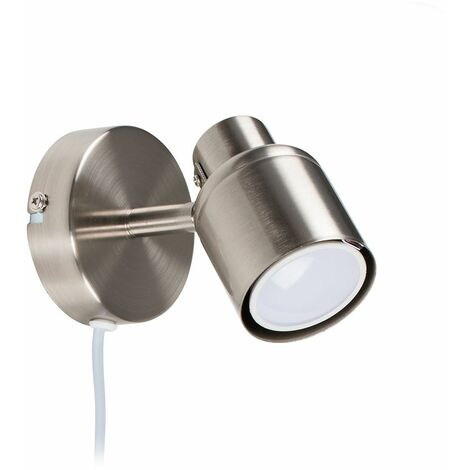 MiniSun - Adjustable Ceiling Wall Spotlight with Plug, Cable & Switch + GU10 LED Bulb - Chrome