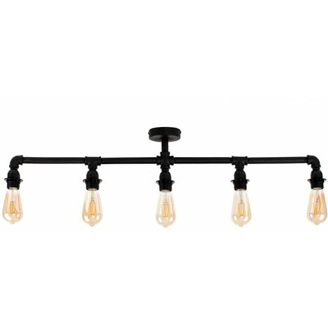 Industrial 5 Way Bar Ceiling Light - No Bulbs