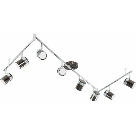 MiniSun - Adjustable 8 Way Rectangular Ceiling Spotlight + 5W LED GU10 Bulbs - No Bulbs