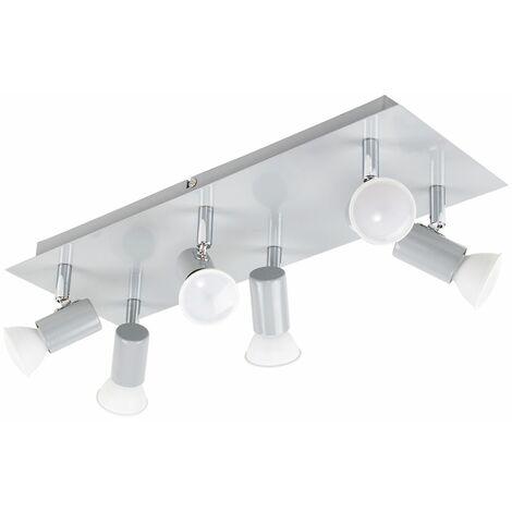 MiniSun - Rectangular 6 Way Adjustable GU10 Ceiling Spotlight - Grey