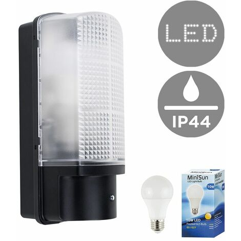 Outdoor Heavy Duty Plastic IP44 Rated Dusk To Dawn Bulkhead Security Wall Light - 10W LED GLS Bulb - Warm White
