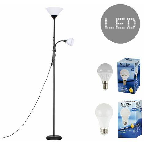 Metallic 2 Way Mother & Child Uplighter & Spotlight Floor Lamp + LED Bulbs - Black