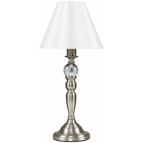MiniSun - Touch Table Lamp with Glass Feature - 5W LED Dimmable Candle Bulb - Brushed Chrome