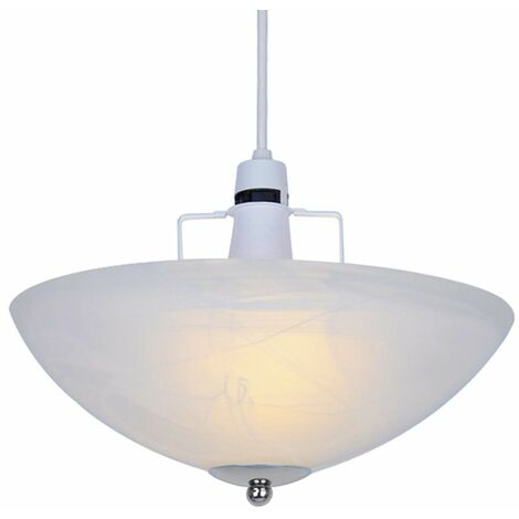 Alabaster Glass Uplighter Ceiling Light Shade + Chrome Gimble - White