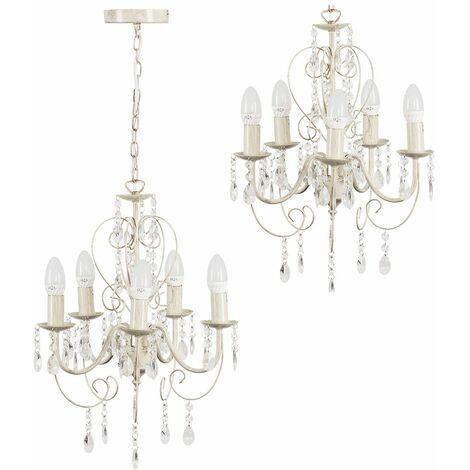 MiniSun - Traditional Chandelier 5 Way Ceiling Light Jewel Droplet Lighting