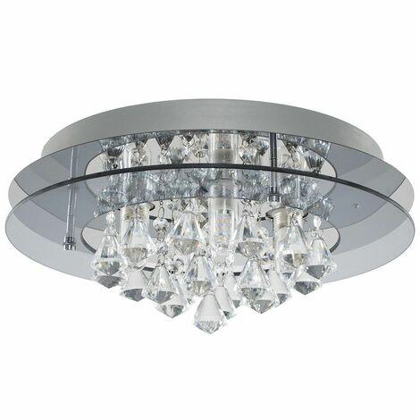 MiniSun - IP44 Rated 2 Tier Halo Glass K5 Crystal Droplet Jewel Bathroom Ceiling Light - No Bulb
