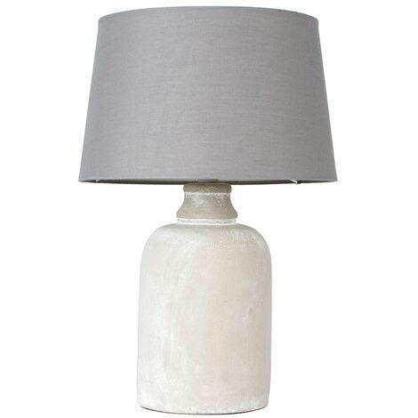 Cement Base Table Lamp Grey Light Shade - No Bulb