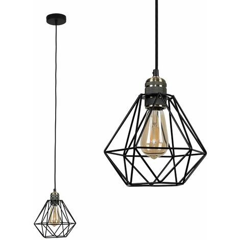 Antique Brass Ceiling Lampholder + Black Shade - No Bulb