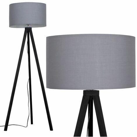 Barbro Black Wood 150cm Tripod Floor Lamp - Grey - Black