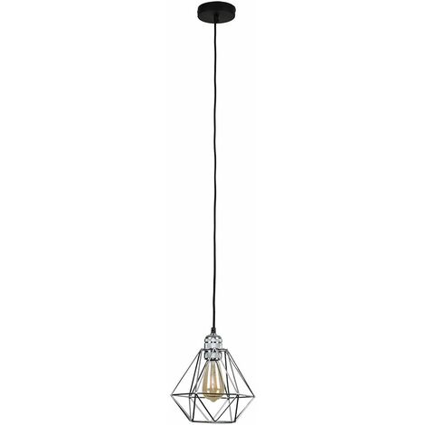 Polished Chrome Ceiling Lampholder With Retro Caged Shade - Chrome