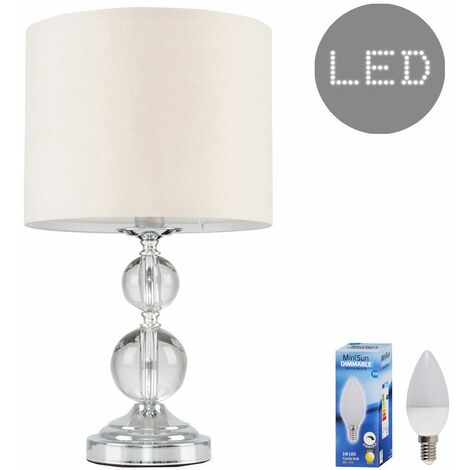 MiniSun - Chrome & Acrylic Ball Touch Dimmer Table Lamp Shade 5W LED Candle Bulb Warm White - Beige