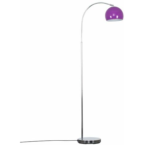 MiniSun - Curved Floor Lamp in Chrome with a Arco Metal Dome Light Shade - Purple