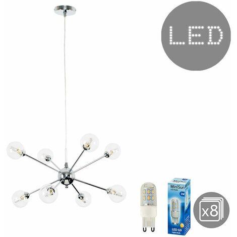 MiniSun - Quirky Lounge Living Room Lighting 8 Way Ceiling Light - Add LED Bulb