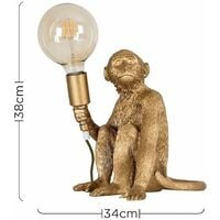 MiniSun - Quirky Monkey Holding Bulb Table Lamp Bedside Light Lounge Lighting - Gold