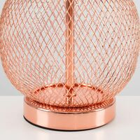 MiniSun - 2 x Copper Touch Table Lamps With Pink Light Shades + 5W Dimmable LED Candle Bulbs Warm White