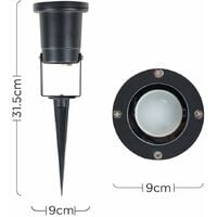 MiniSun - Ip65 Ground Spike Wall Mount Outdoor Light Black Finish + 3W LED Dusk To Dawn Sensor Bulb