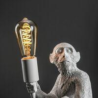 MiniSun - Painted Monkey Table Lamp & 4W LED Helix Filament Bulb 2200K Warm White - White