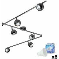 MiniSun - Adjustable 6 Way Eyeball Ceiling Spotlight + Warm White GU10 LED Bulbs - Black Chrome