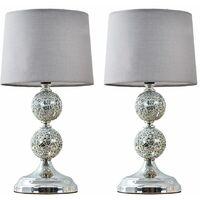 MiniSun - 2 x Decorative Chrome & Mosaic Crackle Glass Table Lamps - Grey