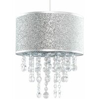 Silver Glitter Light Shade Clear Acrylic Jewel Droplet - No Bulb