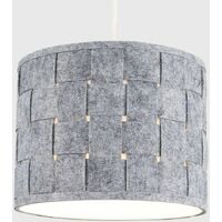 Ceiling Pendant Light Shade Table Or Floor Lampshade Grey Felt Weave Design - Small