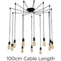 Suspended Ceiling Pendant Black 12 Way Light LED Light Bulb Lighting - No Bulb