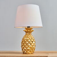 2 x Pineapple Table Lamps in Gold With Tapered Shades - White