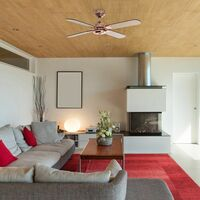 """MiniSun - 42"""" Metal Copper Propeller Ceiling Fan With 4 X Reversible Blades & A Handy Remote Control"""