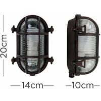 MiniSun - IP64 Rated Oval Rust Nautical Frosted Lens Cross-Cased Metal Outdoor Bulkhead Wall Light - No bulb