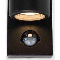 MiniSun - 2 x Black IP44 Rated Outdoor Garden Up / Down Wall Lights With PIR Motion Sensor - Add LED Bulbs