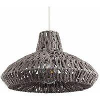 MiniSun - Rattan Wicker Ceiling Light Shade Pendant - Grey
