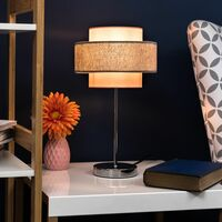 MiniSun - Touch Table Lamp Chrome Finish 4 Stage Dimmer 2 Tier Shades - Pink & Grey
