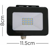 10W Black Slimline Outdoor LED Floodlight IP65 Rated 4000K - Single