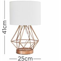 MiniSun - Copper Geometric Touch Table Lamp Fabric Lampshades Light - White