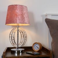 MiniSun - Chrome Jewel Touch Table Lamp Grey Drum Lampshade - Pink