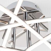 MiniSun - Chrome 20W LED 5 Way Cross Over Flush Ceiling Light Warm White Energy Class A+