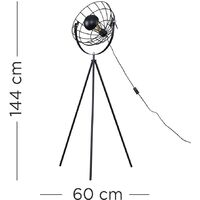Rothman Tripod Floor Lamp In Matt Black With Wire Shade - No Bulb