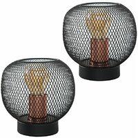 MiniSun - 2 x Wire Mesh Table Lamps - Black & Copper