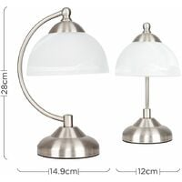 MiniSun - Stamford Crescent Table Lamp In Brushed Chrome With Glass Shade - No Bulb