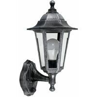 MiniSun - Traditional Outdoor Security PIR Motion Sensor IP44 Rated Wall Light Lantern - Black & Silver