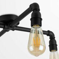 MiniSun - Industrial Matt Black 4 Way Over Table Ceiling Light