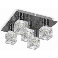 MiniSun - Ice Cube 5 Way Flush Ceiling Spotlight - Black Chrome