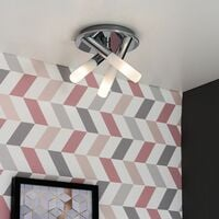 IP44 3 Way Cross Over Chrome Flush Ceiling Light Frosted Glass Shades - No Bulbs