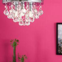 MiniSun - Chrome Flush Ceiling Light Clear Acrylic Jewel Droplets - No Bulbs