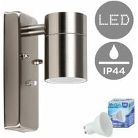 Stainless Steel Dusk To Dawn Sensor Outdoor Garden Wall Down Light IP44 Rated - 5W LED GU10 Bulb - Cool White