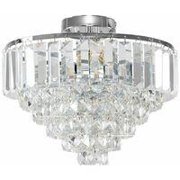 MiniSun - Chrome & K9 Genuine Crystal Icicle Droplet Flush Ceiling Light Fitting - No Bulbs