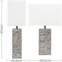 MiniSun - Modern Silver Ripple Effect Ceramic Table Lamp + White Light Shade