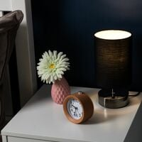 MiniSun - 2 x Black Chrome Touch Dimmer Bedside Table Lamps + Black Light Shades