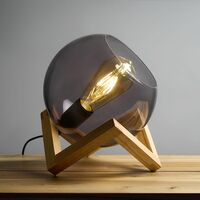 Smoked Glass Globe Bedside Table Lamp On A Wooden Frame Base - No Bulb