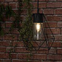 IP44 Black Bathroom Ceiling Light Pendant Metal Open & Clear Glass Shade - No Bulb